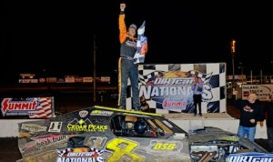 Kyle Strickler celebrates winning Tuesday's UMP modified feature at Volusia Speedway Park. (Chris Seelman photo)