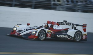 The Muscle Milk Pickett Racing No. 6 Nissan.