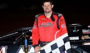 Jason Fitzgerald in victory lane Friday night at Golden Isles Speedway. (Heath Lawson Photo)