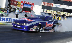 Jason Line claimed the NHRA Pro Stock season opener at Auto Club Raceway in Pomona, Calif. (NHRA photo)