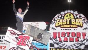 Luke Thomas in victory lane Thursday at East Bay Raceway Park. (Mike Horne photo)
