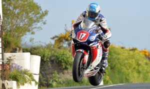 Simon Andrews in action at Rhencullen on the Isle of Man TT Mountain Course.