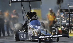 Shawn Langdon led the Top Fuel class during qualifying Friday at Auto-Plus Raceway in Gainesville, Fla. (NHRA Photo)