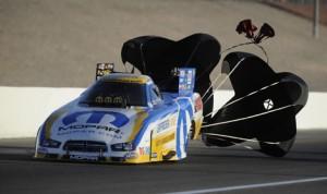 Matt Hagan topped the NHRA Funny Car ranks on Friday in Las Vegas. (NHRA Photo)