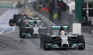 Lewis Hamilton sets the pace during Sunday's Malaysian Grand Prix. (Mercedes photo)