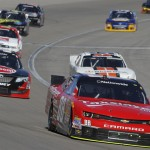 Dale Earnhardt Jr. (88) leads a pack of cars during Saturday's NASCAR Nationwide Series event at Las Vegas Motor Speedway. (HHP/Christa L. Thomas Photo)