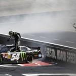 Kyle Busch celebrates after winning Saturday's NASCAR Nationwide Series race at Bristol (Tenn.) Motor Speedway. (HHP/Gregg Ellman Photo)