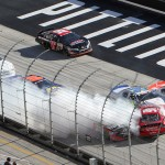 A pack of cars crash during Saturday's NASCAR K&N Pro Series East race at Bristol Motor Speedway. (HHP/Tim Parks Photo)