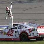 Kyle Larson celebrates after winning his first NASCAR Nationwide Series race Saturday at Auto Club Speedway in Fontana, Calif. (HHP/Harold Hinson Photo)