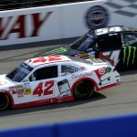 Kyle Larson (42) battles Kyle Busch late in Saturday's NASCAR Nationwide Series race at Auto Club Speedway in Fontana, Calif. (HHP/Rusty Jarrett Photo)