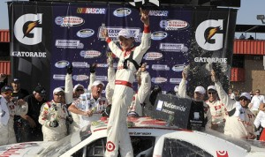 Kyle Larson celebrates after winning his first NASCAR Nationwide Series race Saturday at Auto Club Speedway in Fontana, Calif. (HHP/Rusty Jarrett Photo)