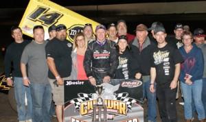 Andy Gregg won Saturday's Civil War Sprint Car Series feature at Marysville (Calif.) Raceway Park.