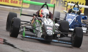 Victor Franzoni (17) drove to victory during the opening round of the Cooper Tires USF2000 Championship Saturday in St. Petersburg, Fla. (Al Steinberg Photo)