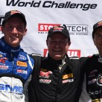 Thomas Enge (center), Andy Pilgrim (right) and Andrew Palmer were the top three GT class drivers during Sunday's Pirelli World Challenge event in St. Petersburg, Fla. (Al Steinberg Photo)