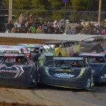 Lucas Oil Late Model Dirt Series teams line up prior to the start of a heat race Saturday at Brownstown (Ind.) Speedway. (Rick Schwallie Photo)