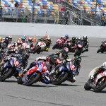 Danny Eslick leads the  field through a corner at the start of the 2014 Daytona 200 at Daytona Int'l Speedway in 2014. (AMA Pro Photo)