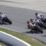 Danny Eslick leads a pack during Saturday's Daytona 200 at Daytona Int'l Speedway. (AMA Pro Photo)