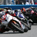 Danny Eslick (69) leads the field during Saturday's Daytona 200 at Daytona Int'l Speedway. (AMA Pro Photo)