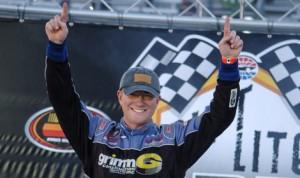 Eddie MacDonald celebrates after winning Saturday's NASCAR K&N Pro Series East race at Bristol (Tenn.) Motor Speedway. (Drew Hierwarter Photo)