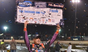 Billy Moyer celebrates his victory in Saturday's World of Outlaws Late Model Series event at I-30 Speedway in Arkansas. (Scott Frazier Photo)