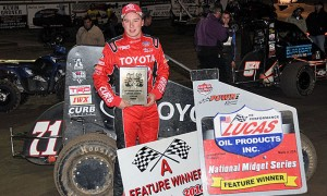 Christopher Bell, seen here in victory lane at Port City Speedway earlier this year, has a commanding lead in the National Midget Driver of the Year Championship. (TWC Photo)