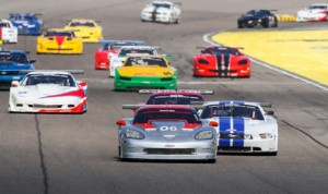 R.J. Lopez (06) leads the Trans-Am Series field during Sunday's event at Homestead-Miami Speedway. (Chris Clark Photo)