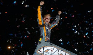 Brad Sweet celebrates after winning Saturday's World of Outlaws STP Sprint Car Series feature at Tucson Int'l Raceway. (Keenan Wright Photo)