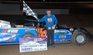 Dennis Erb Jr. picked up $15,000 for winning Saturday's Thaw Brawl at LaSalle (Ill.) Speedway. (Stan Kalwasinski Photo)