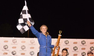 Emma Tucker celebrates after winning her first late model feature at LoanMart Madera Speedway Saturday.