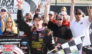Grant Enfinger, seen celebrating his second straight ARCA Racing Series victory in March at Mobile (Ala.), won again Sunday. (ARCA Photo)