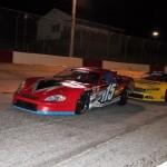 Jody Lavendar (115) battles Jay Fogleman during Saturday's PASS South opener at Greenville (S.C.) Pickens Speedway. (LWPictures.com Photo)