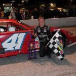 Daniel Hemric in victory lane after winning Saturday's PASS South event at Greenville (S.C.) Pickens Speedway. (LWPictures.com Photo)