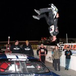 Daniel Hemric does a celebratory back flip after winning Saturday's PASS South event at Dillon (S.C.) Motor Speedway. (LWPictures.com Photo)