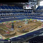 The Monster Energy Supercross track at Lucas Oils Stadium in Indianapolis before Saturday's event. (Photo: Shawn Mueller)