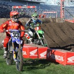 Josh Grant And Ryan Villopoto  during practice up for Saturday's Monster Energy Supercross race at the Daytona Int'l Speedway in Daytona Beach, Fla. (Photo: Pete Richards)