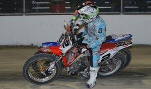 Kenny Coolbeth Jr. (2) rode to victory in Friday's AMA Pro Flat Track race at the Daytona Flat Track. (AMA photo)