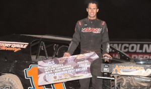 R.C. Whitwell won the IMCA Xtreme Motor Sports Modified feature Wednesday evening at the Las Vegas Motor Speedway Dirt Track. (Tom Macht Photo)