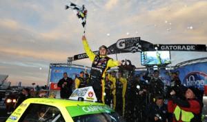 Matt Crafton celebrates after winning Sunday's Kroger 250 at Martinsville (Va.) Speedway. (NASCAR Photo)