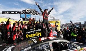 Kurt Busch celebrates after winning Sunday's STP 500 at Martinsville (Va.) Speedway. (NASCAR Photo)