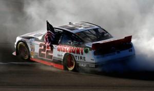 Brad Keselowski celebrates after winning Saturday's NASCAR Nationwide Series event at Las Vegas Motor Speedway. (NASCAR Photo)
