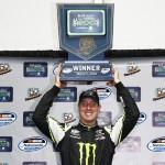 Kyle Busch celebrates after winning Saturday's NASCAR Nationwide Series event at Phoenix Int'l Raceway. (NASCAR Photo)