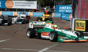 Spencer Pigot (7) leads the Pro Mazda Championship field on Sunday in St. Petersburg, Fla. (Don Figler Photo)