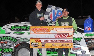 Johnny Scott in victory lane at Super Bowl Speedway. (USMTS photo)