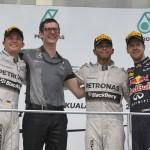 Lewis Hamilton, Nico Rosberg and Sebastian Vettel made up the podium from Sunday's Malaysian Grand Prix. (Steve Etherington Photo)