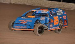 Josh Vogt raced to the $750 IMCA Xtreme Motor Sports Modified feature win Thursday at the Las Vegas Motor Speedway Dirt Track. (Tom Macht Photo)