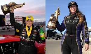 Erica Enders-Stevens (left) and Alexis DeJoria (right) picked up NHRA victories in the Pro Stock and Funny Car classes Sunday at The Strip at Las Vegas Motor Speedway. (NHRA Photos)