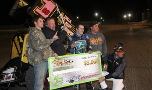 Brady Bacon picked up $3,000 at the Southern New Mexico Speedway with the West Texas ASCS 305 Region Saturday night. (ASCS/Bryan Hulbert photo)
