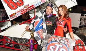 David Gravel in victory lane Friday at California's Merced Speedway. (Paul Trevino photo)