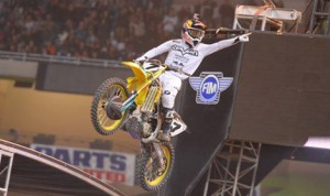 James Stewart picked up his third Monster Energy AMA Supercross victory of 2014 Saturday night in Detroit. (Simon Cudby Photo)