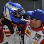 Robin Liddell and Andrew Davis celebrate after winning Friday's Continental Tire SportsCar Challenge event at Sebring (Fla.) Int'l Raceway. (Scott LePage/LAT Photo)